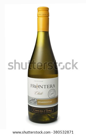 ST. PETERSBURG, RUSSIA - February 09, 2016: Bottle of Frontera Chardonnay, Vina Concha y Toro, S.A. Chile, 2014 - stock photo