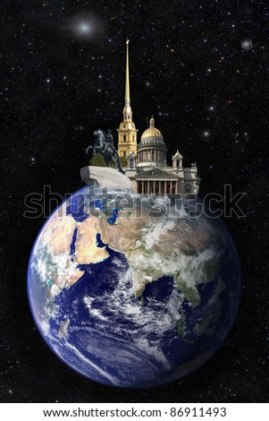 St. Petersburg Russia from space - stock photo