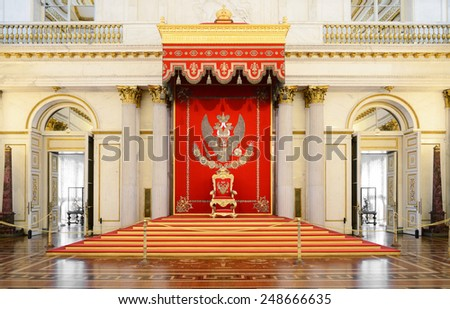 ST PETERSBURG,RUSSIA - JAN 25,2015:St George's Hall (referred to as Great Throne Room) is one of largest state rooms in Winter Palace.Hall was scene of many of most formal ceremonies of Imperial court