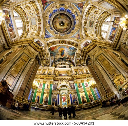 ST. PETERSBURG, RUSSIA - JANUARY 14,  2017: Interior of St. Isaac's Cathedral (1819-1858). It is the largest Russian Orthodox cathedral in St. Petersburg