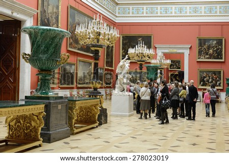 ST PETERSBURG, RUSSIA - JANUARY 24, 2015:State Hermitage is museum of art and culture. One of oldest museums in world, it was founded in 1764 by Catherine Great