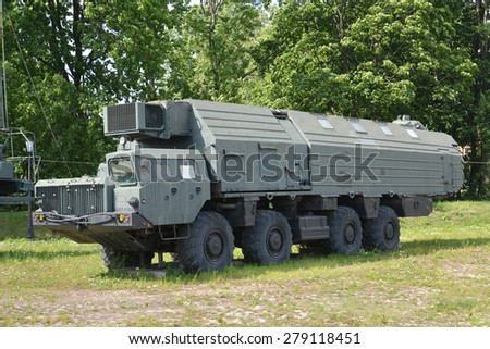 ST. PETERSBURG, RUSSIA - JULY 14, 2014: Car of ensuring fighting watch of the strategic Poplar RT-2PM missile system