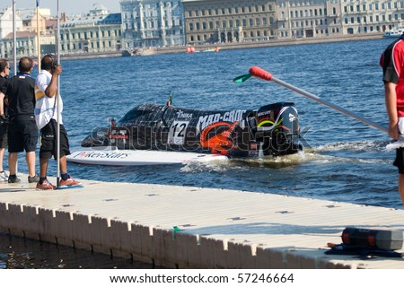 ST.PETERSBURG, RUSSIA - JULY 11: Mad Croc F1 team driver Sami Selio of Finland competes in the Formula 1 powerboat GP of Russia July 11, 2010 in St.Petersburg Russia