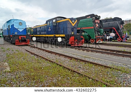 ST. PETERSBURG, RUSSIA - JULY 23, 2015: Old locomotives stand on ways