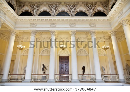ST. PETERSBURG,RUSSIA - JULY 11, 2015: State Russian Museum, the interior of the colonnade, St. Petersburg
