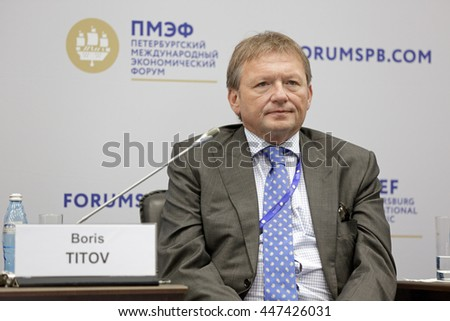 ST-PETERSBURG, RUSSIA-JUN 16, 2016: St. Petersburg International Economic Forum SPIEF-16. Boris Titov, Presidential Commissioner of the Russian Federation for the Protection of Entrepreneursâ?? Rights - stock photo
