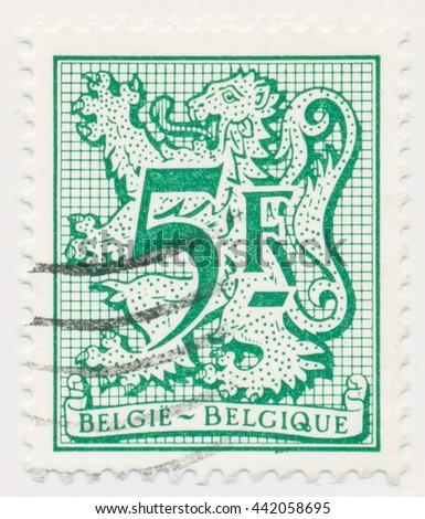 ST. PETERSBURG, RUSSIA - JUNE 23, 2016: A postmark printed in BELGIUM, shows Heraldic Lion, circa 1979 - stock photo