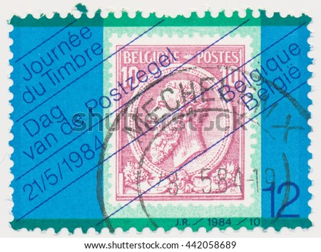 ST. PETERSBURG, RUSSIA - JUNE 23, 2016: A postmark printed in BELGIUM, shows postmark 1884 King leopold II (1835-1909), old postage stamp on a new, circa 1984 - stock photo