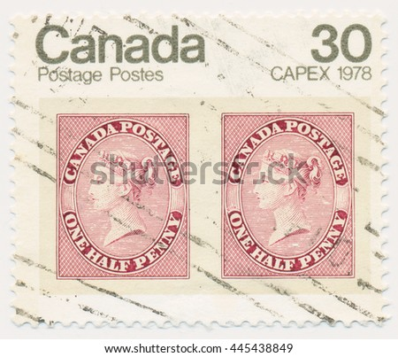ST. PETERSBURG, RUSSIA - JUNE 29, 2016: A postmark printed in CANADA, shows portrait of Queen Victoria (1857), old postage stamp on a new, circa 1978