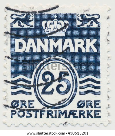 ST. PETERSBURG, RUSSIA - JUNE 1, 2016: A postmark printed in Denmark, shows  Par value 25 in double oval, circa 1990 - stock photo