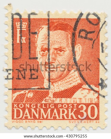 ST. PETERSBURG, RUSSIA - JUNE 1, 2016: A postmark printed in Denmark, shows portrait of King Frederik IX (1899-1972), circa 1952 - stock photo