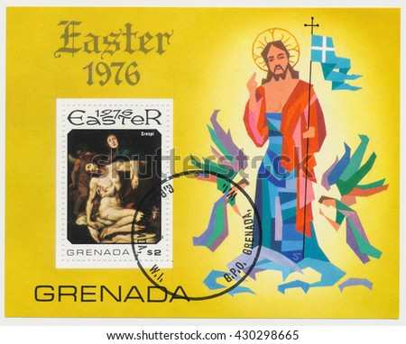 ST. PETERSBURG, RUSSIA - JUNE 1, 2016: A postmark printed in Grenada, shows Crucifixion, by van der Weyden, Souvenir sheet, circa 1976 - stock photo