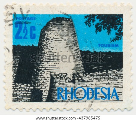 ST. PETERSBURG, RUSSIA - JUNE 15, 2016: A postmark printed in RHODESIA, shows Ruins of Zimbabwe, circa 1970 - stock photo