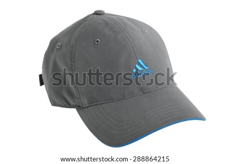ST. PETERSBURG, RUSSIA - June 01, 2012: ADIDAS baseball cap isolated on white background, with the company's distinctive three parallel bars - stock photo