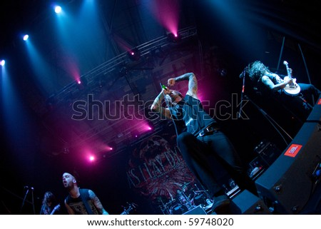 "ST.-PETERSBURG, RUSSIA - JUNE 22: GROUP ""JOB FOR A COWBOY"" in concert on June 22, 2010 in St Petersburg, Russia"
