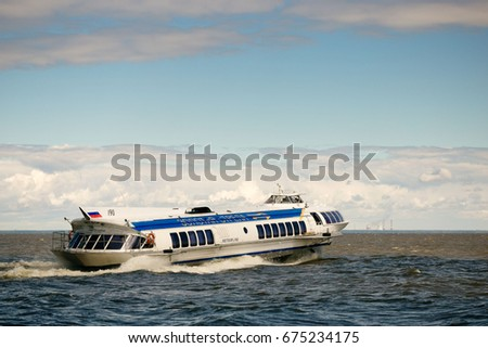 St. Petersburg, Russia - June 28, 2017: High-speed hydrofoil ship in St Petersburg
