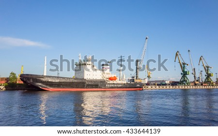 St-Petersburg, Russia - June 7, 2016: Mudyug. Port icebreaker moored in the Great Sea Canal
