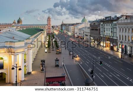 ST. PETERSBURG, RUSSIA - JUNE 16, 2015: Nevsky Prospect - main street of St. Petersburg - stock photo