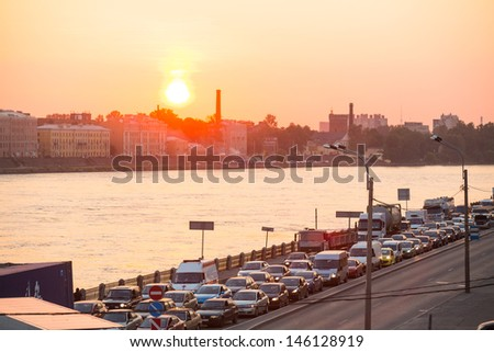 ST.PETERSBURG, RUSSIA - JUNE 25: Shortness of traffic due to repairs Greater Obukhov (cable-stayed) Bridge, Jun 25, 2013, St.Petersburg Russia. Congestion length of 6.3 km was formed on the Ring Road.