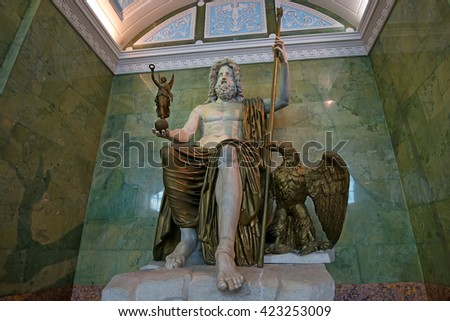 ST PETERSBURG, RUSSIA - JUNE 10, 2015: Statue of Jupiter in Jupiter Hall of Hermitage museum in June 10, 2015 in Saint Petersburg. This is one of biggest antique sculptures remained up to present time - stock photo