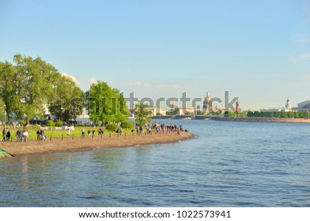 ST.PETERSBURG, RUSSIA - 10 JUNE 2017: View of Neva River and embankment in historical center of St.Petersburg.