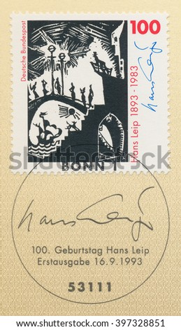 ST. PETERSBURG, RUSSIA - MAR 28, 2016: A first day of issue postmark printed in Bonn, Germany, shows illustration, Hans Leip (1893-1983), Poet and Painter, circa 1993