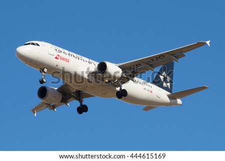 ST. PETERSBURG, RUSSIA - MARCH 20, 2016: Airbus A320-214 (HB-IJO) Swiss International Air Lines before landing in Pulkovo airport