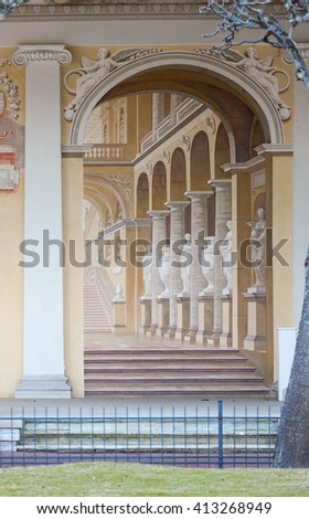 ST.PETERSBURG, RUSSIA - MARCH 29, 2016: Painted wall in Pavlovsk Palace Russian Imperial residence in Pavlovsk, suburb of St. Petersburg. - stock photo