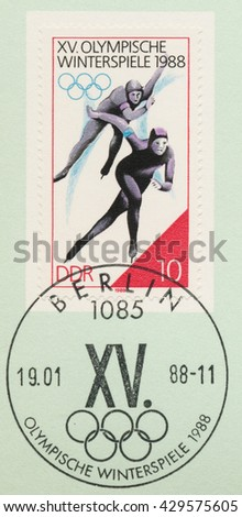 ST. PETERSBURG, RUSSIA - MAY 31, 2016: A postmark printed in DDR, shows Speed skating, Winter Olympics Games in Calgary, circa 1988 - stock photo
