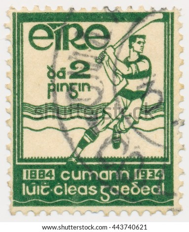 ST. PETERSBURG, RUSSIA - MAY 21, 2016: A postmark printed in Ireland, shows Hurling player, circa 1934