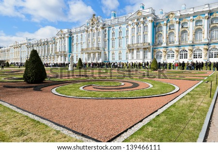 ST. PETERSBURG, RUSSIA - MAY 6: Catherine Palace on May 6, 2013 in town of Tsarskoye Selo (Pushkin), 25 km south-east of St. Petersburg, Russia . It was the summer residence of the Russian tsars.