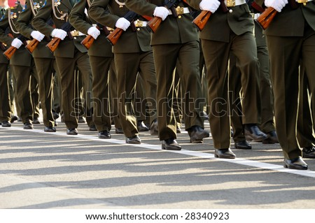 ST. PETERSBURG, RUSSIA - MAY 9: Military Victory parade (victory in the World War II) is spent every year on May 9 on Palace Square of St.-Petersburg, Russia. - stock photo