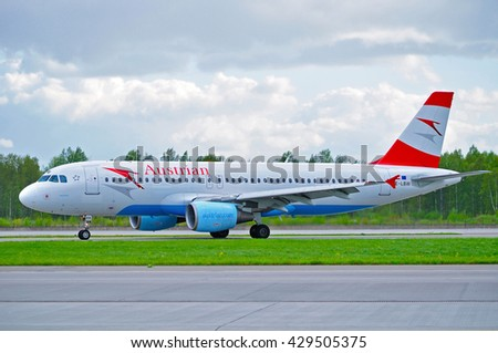 ST PETERSBURG, RUSSIA - MAY 11, 2016. OE-LBW Austrian Airlines Airbus A320 airplane is riding on the runway after arrival at Pulkovo International airport