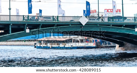 St.Petersburg, Russia - May 17, 2016: pier on Neva river under Palace bridge.