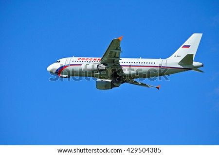 ST PETERSBURG, RUSSIA - MAY 11, 2016. VQ-BAR Rossiya Airlines Airbus A319 airplane is flying in the sky after departure from Pulkovo International airport