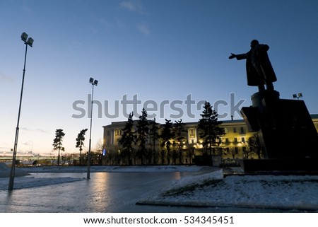 ST. PETERSBURG, RUSSIA - NOV 7, 2016: Monument to Lenin on Lenin Square shows the way to the victory of communism. The anniversary of the October Revolution of 1917.