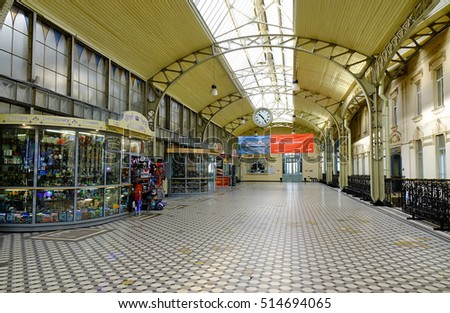 St. Petersburg, Russia - Oct 7, 2016. Many souvenir shops located at the Vitebskiy railway station in St. Petersburg, Russia.