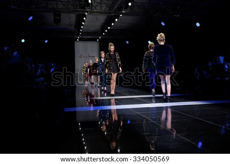 ST. PETERSBURG, RUSSIA - OCTOBER 27, 2015: Collection of Fur House ZIMA at the fashion show during Mercedes-Benz Fashion Day St. Petersburg. It is one of the most popular fashion events of the city - stock photo