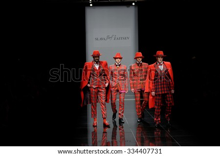 ST. PETERSBURG, RUSSIA - OCTOBER 28, 2015: Collection of Slava Zaitsev at the fashion show during Mercedes-Benz Fashion Day St. Petersburg. It is one of the most popular fashion events of the city - stock photo