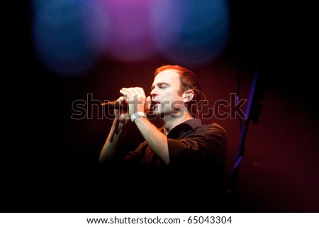 """ST. PETERSBURG, RUSSIA - OCTOBER 30: Group """"BLIND GUARDIAN"""" in concert on October 30, 2010 in St Petersburg, Russia - stock photo"""