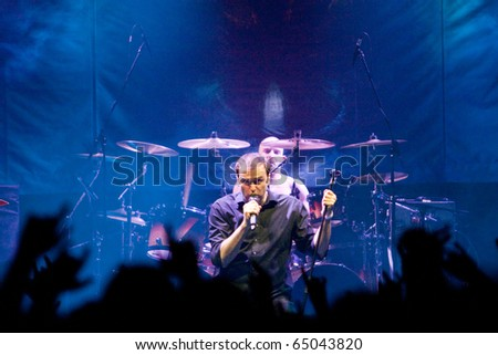 "ST. PETERSBURG, RUSSIA - OCTOBER 30: Group ""BLIND GUARDIAN"" in concert on October 30, 2010 in St Petersburg, Russia"