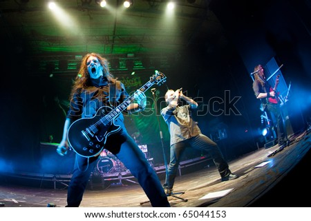 "ST. PETERSBURG, RUSSIA - OCTOBER 30: Group ""BLIND GUARDIAN"" in concert on October 30, 2010 in St Petersburg, Russia - stock photo"