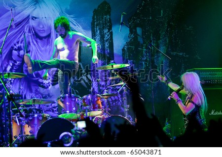 "ST. PETERSBURG, RUSSIA - OCTOBER 29: Group ""DORO"" in concert on October 29, 2010 in St Petersburg, Russia"