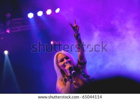 """ST. PETERSBURG, RUSSIA - OCTOBER 29: Group """"DORO"""" in concert on October 29, 2010 in St Petersburg, Russia - stock photo"""