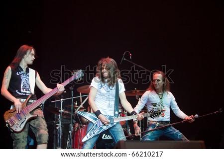 "ST. PETERSBURG, RUSSIA - OCTOBER 20: Group ""MAVRIN"" in concert on OCTOBER 20, 2010 in St Petersburg, Russia - stock photo"