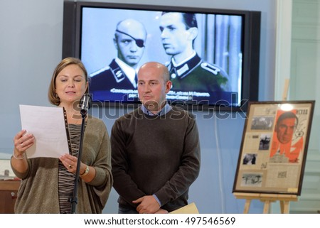 ST. PETERSBURG, RUSSIA - OCTOBER 7, 2016: Olga Semyonova (left) during the opening of exhibition dedicated to 85th anniversary of her father, Russian author Julian Semyonov in the Presidential library