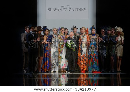 ST. PETERSBURG, RUSSIA - OCTOBER 28, 2015: Slava Zaitsev (center) with his collection at the fashion show during Mercedes-Benz Fashion Day St. Petersburg - stock photo