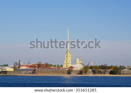 St.PETERSBURG, RUSSIA - OCTOBER 7, 2014:Views of Peter and Paul Fortress and Cathedral, embankment of Zayachy island on Neva river