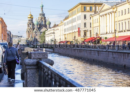 ST. PETERSBURG, RUSSIA, on August 21, 2016. Griboyedov Canal Embankment.
