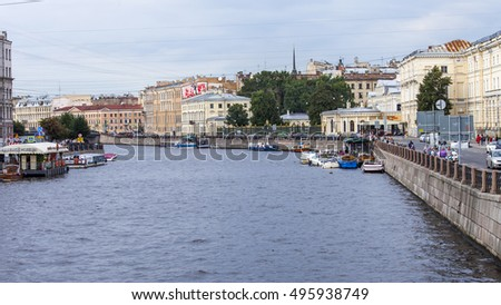 ST. PETERSBURG, RUSSIA, on August 21, 2016. Urban view. Architectural complex of Moika River Embankment